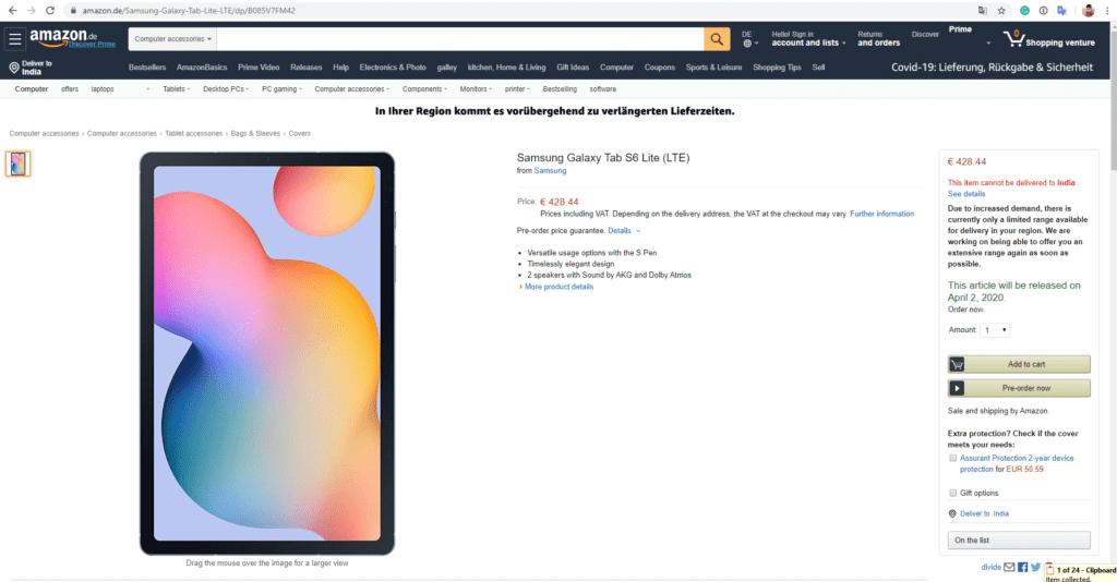 Amazon Listing reveals Samsung Galaxy Tab S6 Lite specs
